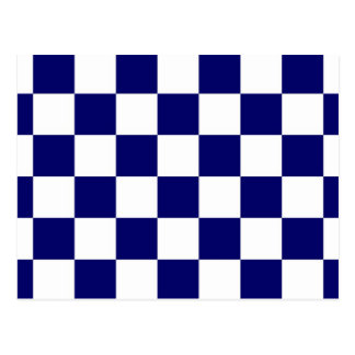 Checkered Navy and White Postcard
