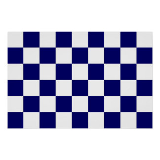 Checkered Navy and White Poster