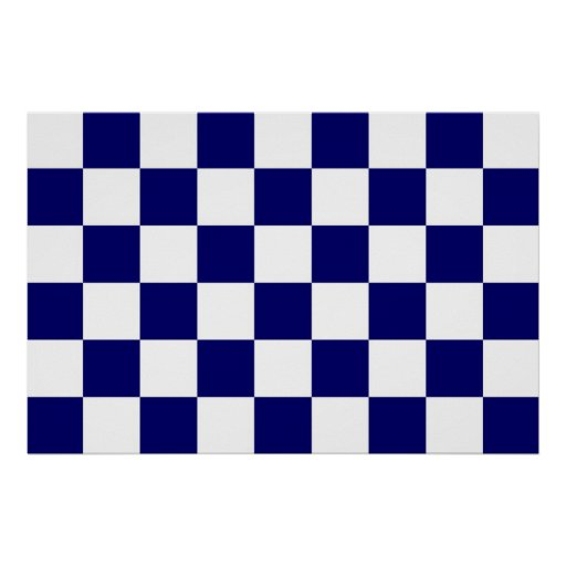 Checkered Navy and White Posters