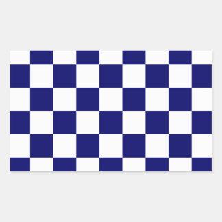 Checkered Navy and White Rectangular Sticker