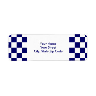 Checkered Navy and White return address label
