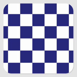 Checkered Navy and White Square Sticker