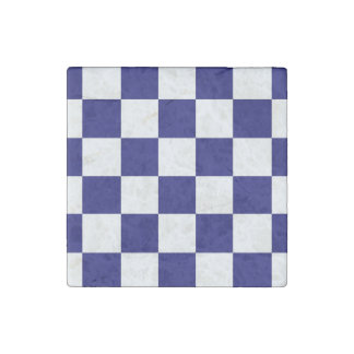 Checkered Navy and White Stone Magnet