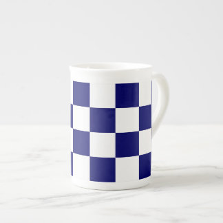 Checkered Navy and White Tea Cup