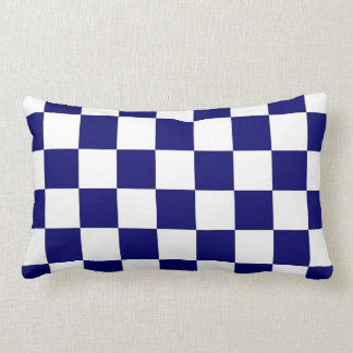 Checkered Navy and White Throw Pillow