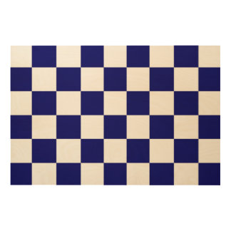 Checkered Navy and White Wood Wall Decor