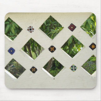 Checkered Open Tiled Cement Wall Mouse Pad