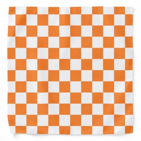 Checkered Orange and White Bandana
