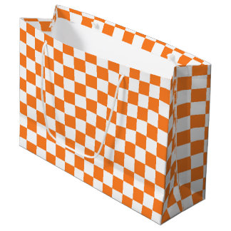 Checkered Orange and White Large Gift Bag