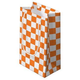 Checkered Orange and White Small Gift Bag