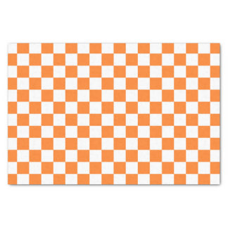 Checkered Orange and White Tissue Paper