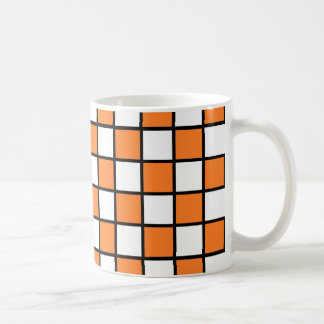Checkered Outlined Orange and Black Coffee Mug