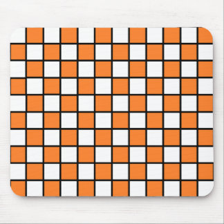 Checkered Outlined Orange and Black Mouse Pad