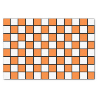 Checkered Outlined Orange and Black Tissue Paper