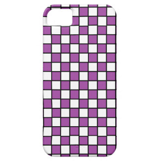 Checkered Outlined Purple and Black iPhone SE/5/5s Case