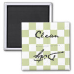 Checkered Pale Green Clean or Dirty 2 Inch Square Magnet