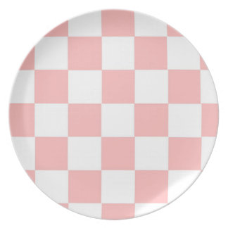 Checkered Pale Pink Melamine Plate
