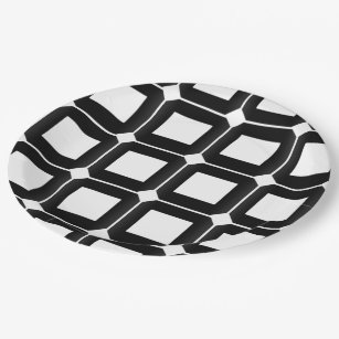 Checkered Paper Plate  sc 1 st  Zazzle : black and white checkered paper plates - pezcame.com