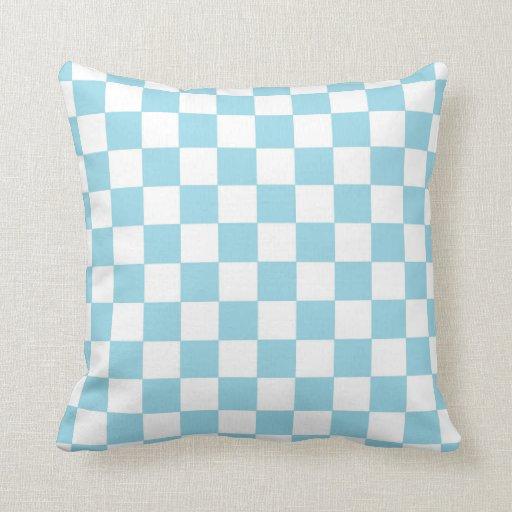Checkered Pastel Blue and White Throw Pillow Zazzle