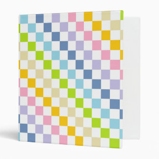 Checkered Pastel Rainbow 3 Ring Binder