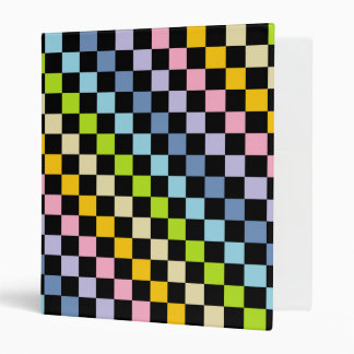Checkered Pastel Rainbow Black 3 Ring Binder