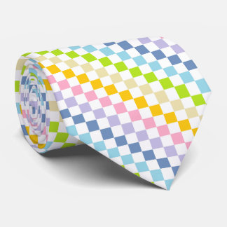 Checkered Pastel Rainbow Neck Tie