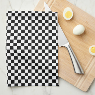Checkered Pattern Black and White Hand Towel