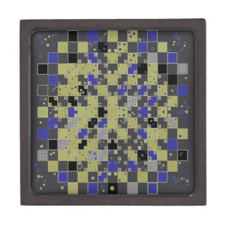 Checkered Pattern in Blue, Yellow, Gray Gift Box