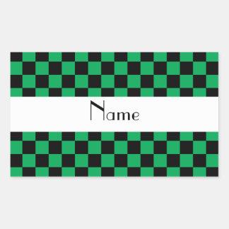 Checkered pattern in green.png rectangular sticker