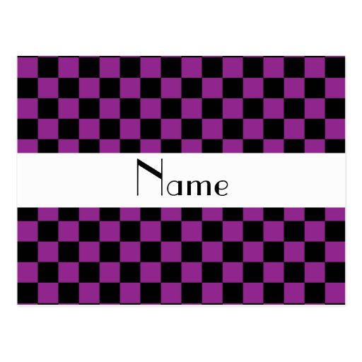 Checkered pattern in purple.png postcard