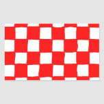 checkered pattern (red) 長方形シール・ステッカー