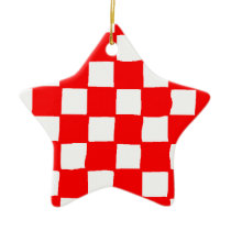 checkered pattern (red) ceramic ornament