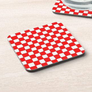 checkered pattern (red) Cork Coaster