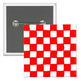 checkered pattern (red) pinback button