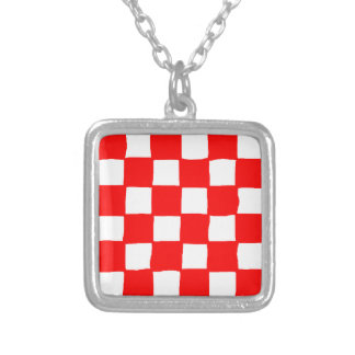 checkered pattern (red) silver plated necklace