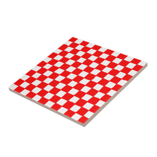 checkered pattern (red) tile