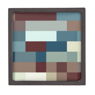 Checkered Pattern Squares Blue Brown White Jewelry Box