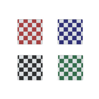 Checkered Pattern Stone Magnet Set