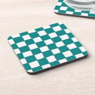 checkered pattern (teal) Cork Coaster
