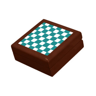 checkered pattern (teal) trinket boxes