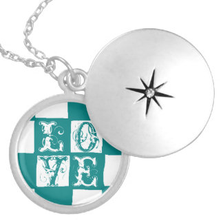 checkered pattern (teal) locket necklace