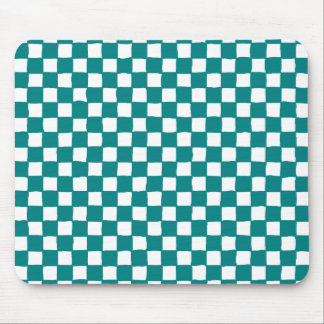 checkered pattern (teal) mouse pad