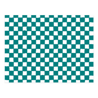 checkered pattern (teal) postcard