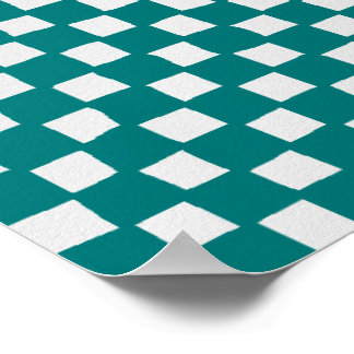 checkered pattern (teal) poster