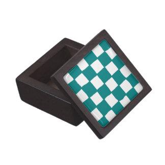 checkered pattern (teal) Premium Gift Box