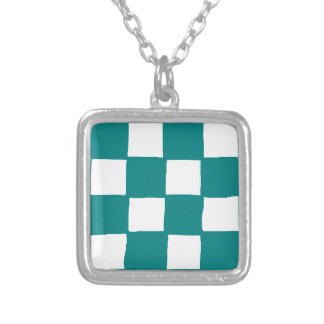 checkered pattern (teal) silver plated necklace