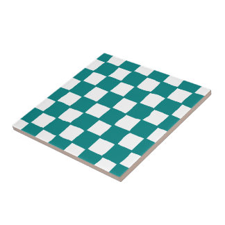 checkered pattern (teal) tile
