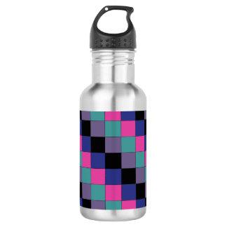 Checkered Pattern w/ Green Purple Black Blue Pink Water Bottle