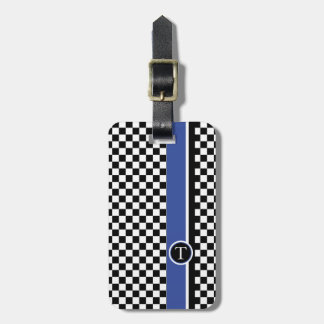 checkered pattern with blue stripe tags for luggage
