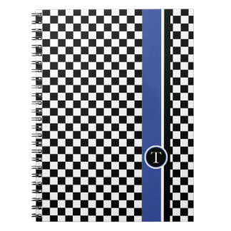 checkered pattern with blue stripe note book